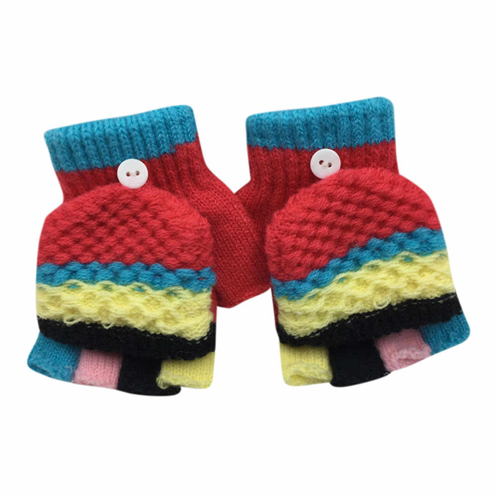 TELOTUNY children's winter gloves 2-6T Toddler Baby Cute Thicken Patchwork mittens for children U71219 LSY1128