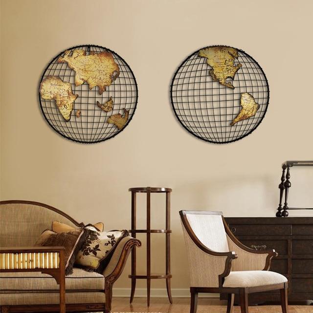 vintage mur de fer d cor carte du monde accueil peinture. Black Bedroom Furniture Sets. Home Design Ideas