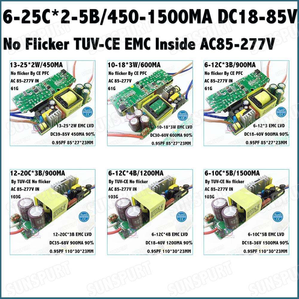 2-20PCS TUV-CE No Flicker PFC Inside 20-60W AC85-277V LED Driver 6-25Cx2-5B 450-1500mA DC18-85V Constant Current Free Shipping
