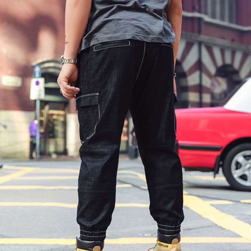 JEELINBORE Summer Denim Pants Black Solid Bottom Mens Loose Ripped Casual Jeans Denim Fashion Plus Size 6XL