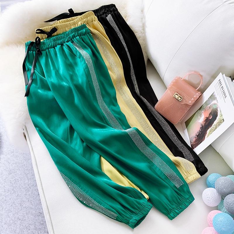 Spring Summer Leisure Pants Women Jogger Haren Bottoms Striped Drawstring Sweatpants Elastic Waist Streetwear