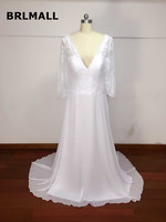 2018 Simple Wedding Dresses Custom Made Chiffon Lace A Lin Cheap PLus Size New Arrival Bridal Gowns