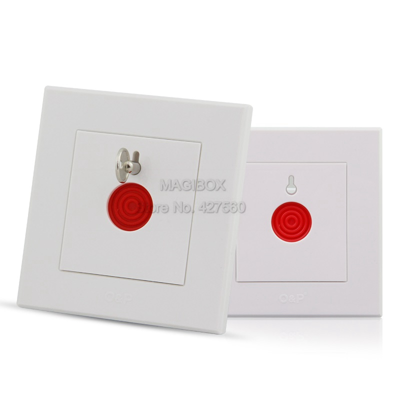 White Emergency Button Alarm Button Fire Alarm Emergency Switch Alarm Access Control Switch with Key 86*86mm