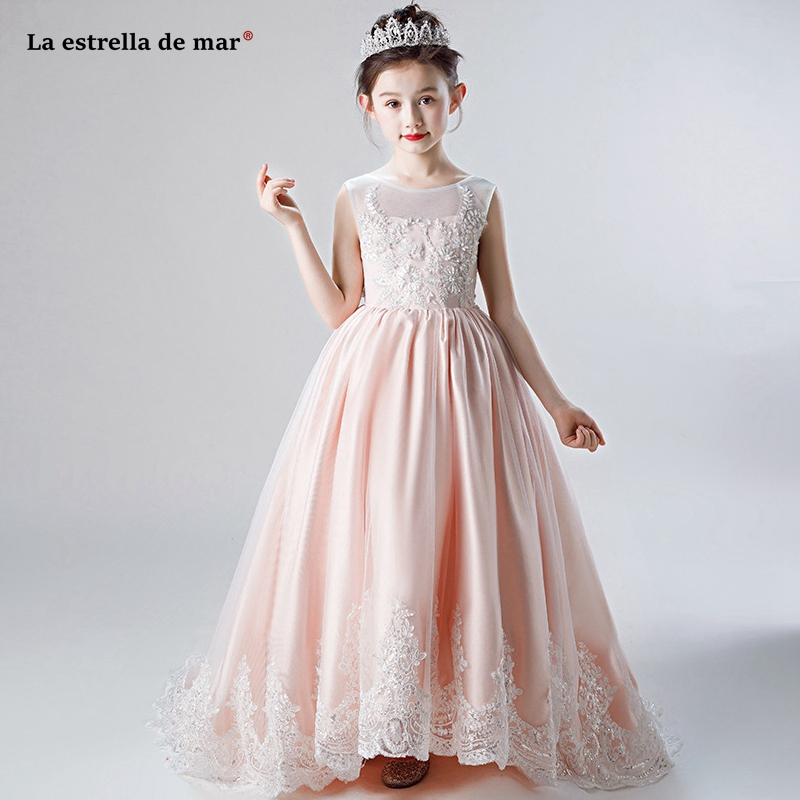 Vestidos de novia 2019 new Scoop neck tulle satin applique ALine peach pink   flower     girl     dress   trailing primera comunion custom