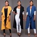 2016 Горячие моды сексуальные дамы куртки элегантные длинные куртки женщин случайных куртки