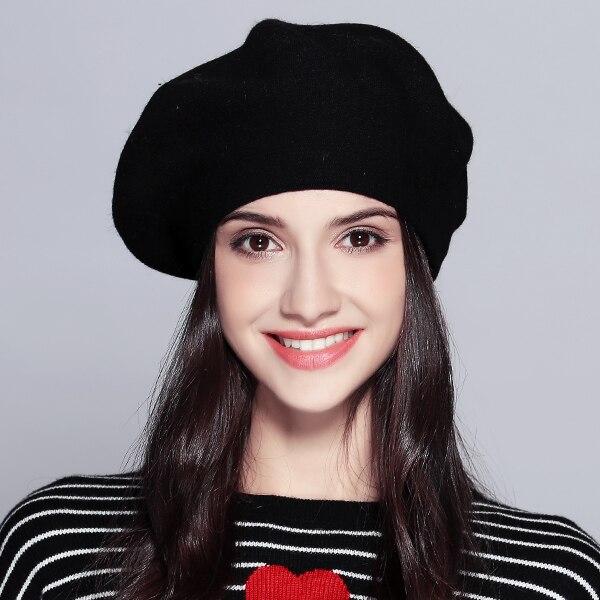 Женский берет модная шляпа для зимы женские вязаные хлопковые шерстяные шапки шапка осеньняя брендовые новые женские головные уборы# MZ729 - Цвет: Черный