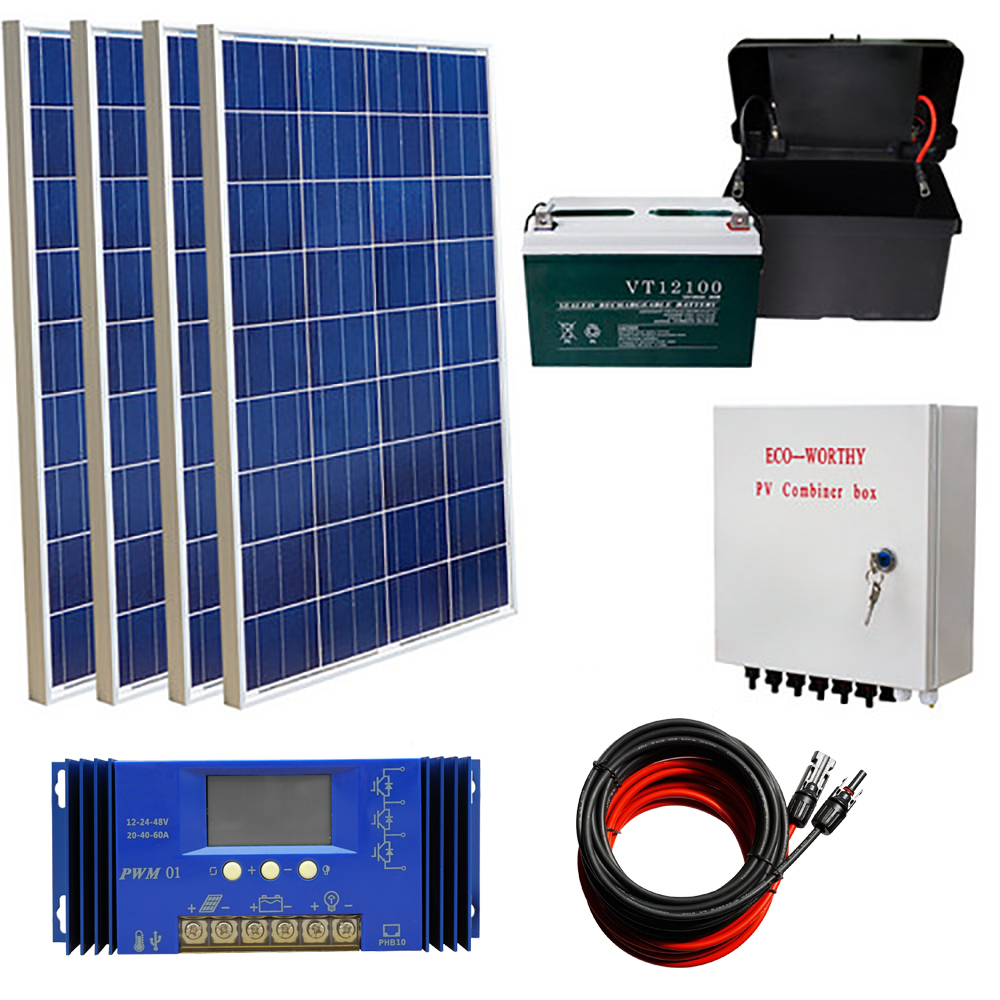400W off Grid Solar Kit 4x 100W Solar Panel + 100AH Battery + Solar Combiner Box Solar Kit For Home