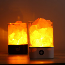 creative clean air rock salt lamp art deco LED lava night light himalayan salt lamp usb salt lamp bedside lamp air purifiers E27 glowing attractive air purifying night lamp crystal himalayan natural salt rock night light night lamp tea lights candle holder