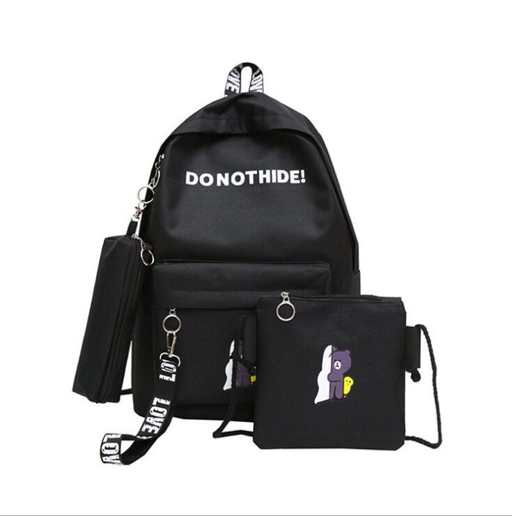 Bags for women 2018 three-piece female backpack Korean college wind canvas backpack travel bag student bag