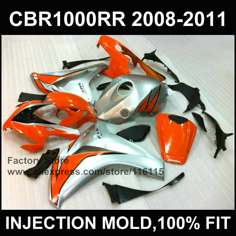 Motorcycle fairings for HONDA CBR 1000 RR orange silver fairing  2008 2009 2010 2011 cbr1000 rr  Injection molding bodyworks arashi motorcycle radiator grille protective cover grill guard protector for 2008 2009 2010 2011 honda cbr1000rr cbr 1000 rr