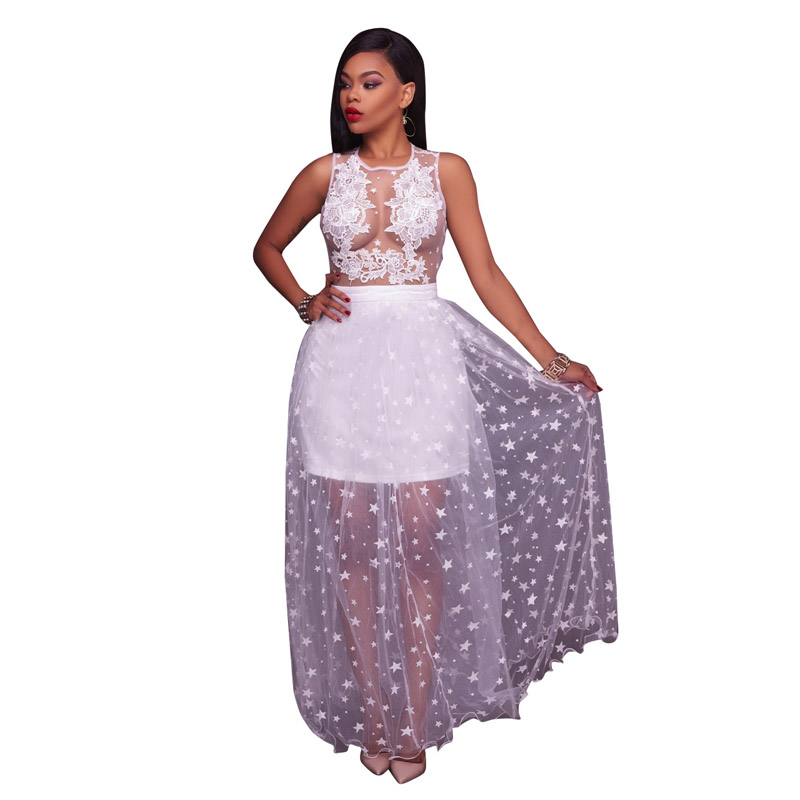 Womens Sleeveless Lace Applique Mesh Insert Summer Beach Party Evening Short Pants Romper Fit and Flare Sweet Long Maxi Dress