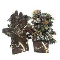 Camuflagem luvas de caça elástico dedo cheio para pesca caça ciclismo cs esportes luvas tiro tático 3d folhas bionic