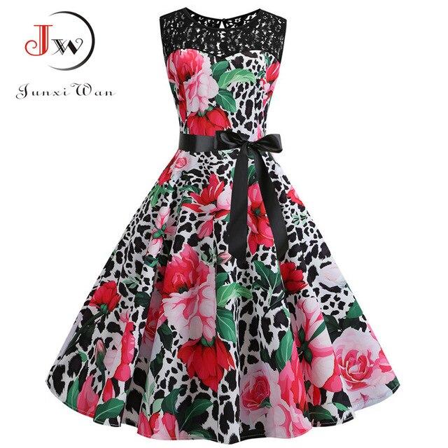 Plaid Print Summer Dress Women 50s Elegant Vintage Dress Casual Rockabilly Lace Patchwork Party Dress Plus Size High Waist 4