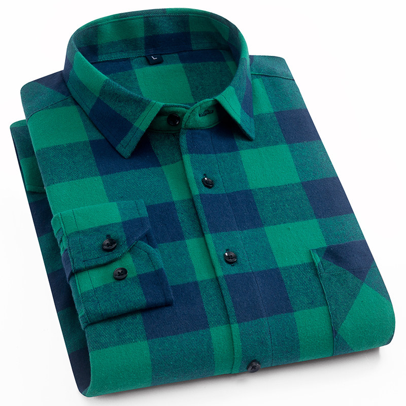 Menns 100% Cotton Casual Plaid Skjorter Pocket Langermet Slim Fit - Herreklær - Bilde 6
