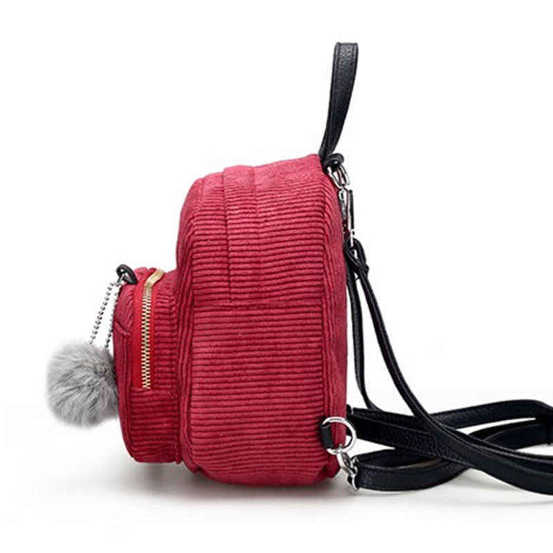 2018 Brand New kobiety dziewczęta solidna mała na ramię torba podróżna Mochila plecak sztruksowy