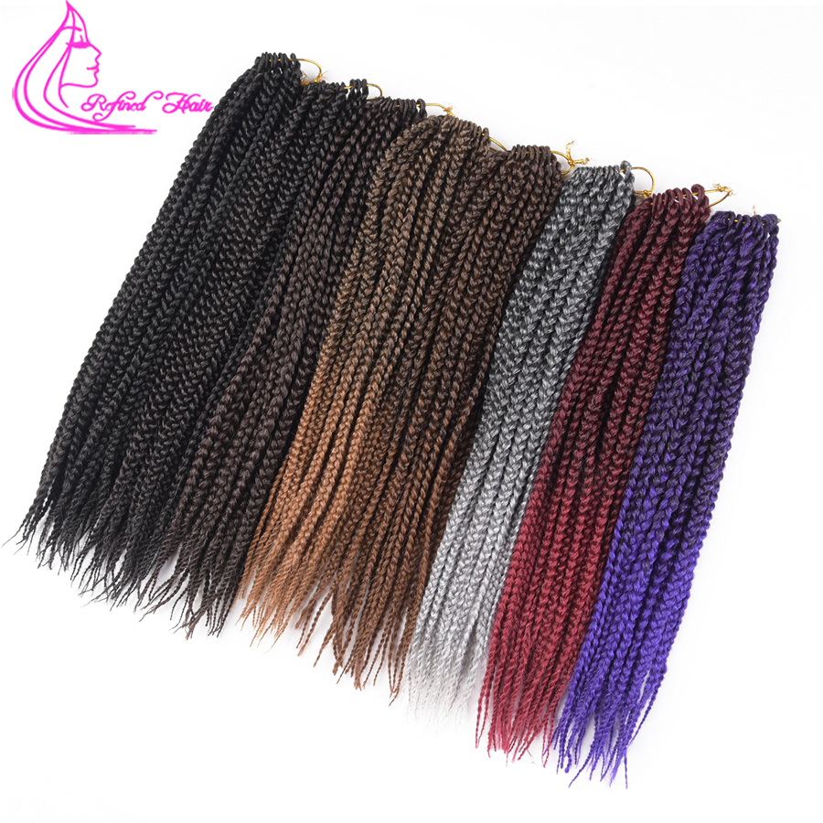 Refined Hair 14 18 22Inch 3X Box Braids Crochet Braid Hair 22Roots Ombre Brown Kanekalon Synthetic Braiding Hair Extensions