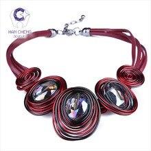 Hancheng новые модные кожаные веревки ручной работы создан кристалл колье Цепочки и ожерелья Для женщин Ожерелья для мужчин себе воротник ювелирные изделия Bijoux