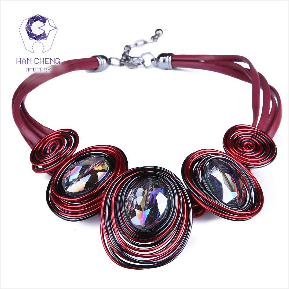 HanCheng New Fashion Leather Rope Created Crystal Wire Choker Necklace Women Necklaces Handmade Statement jewelry collar bijoux