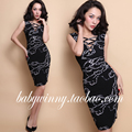 Envío gratis 2016 primavera verano la nueva vendimia sin mangas cruz V Neck Chain impresión vestido de Lycra negro mujeres Vestidos ropa