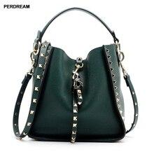 Leather personalized rivet handbag leopard head shoulder soft cowhide mother bag bucket