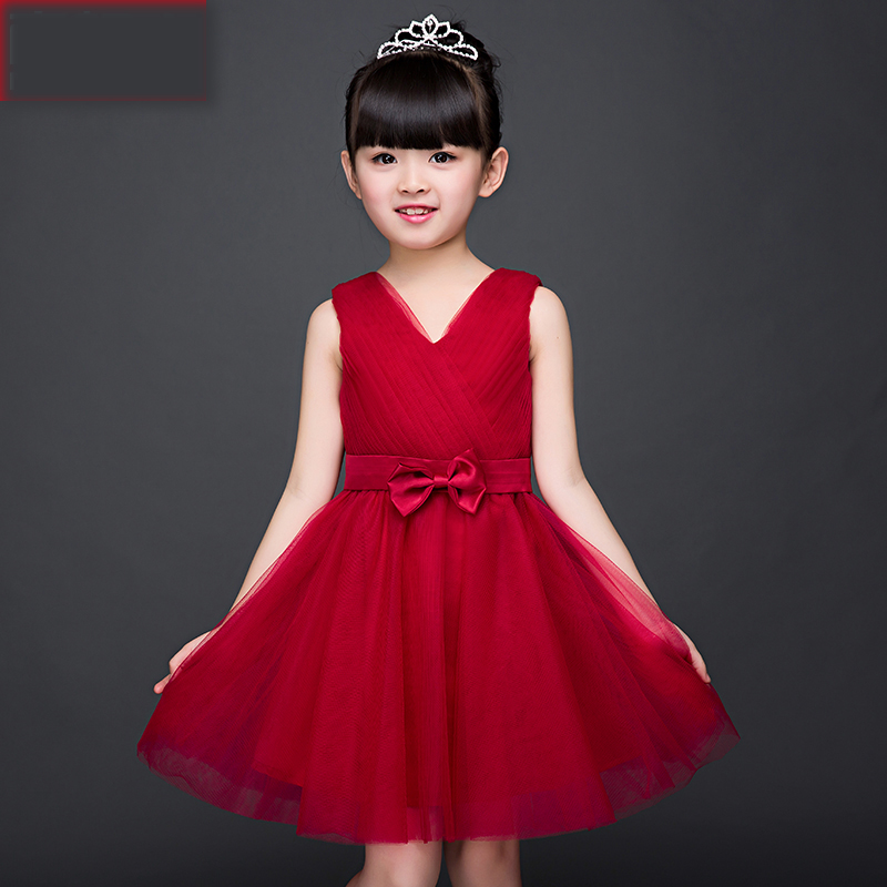 Elegant Sweet Princess Lace Solid Knee Length Prom Party Kids Dress For Girls 2017 Fashion Flower Girls Dress For Wedding P81 new arrival fashion summer girls kids sleeveless flower dress elegant sweet children girls knee length ball gown dress