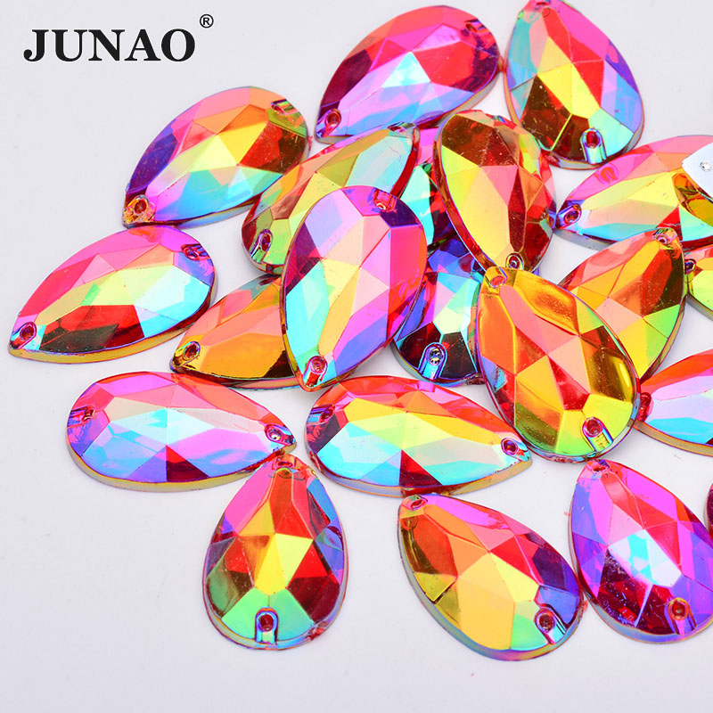 JUNAO 17 28mm Sewing Purple AB Teardrop Rhinestone Big Size Acrylic Appliques Flatback Crystal Stones Sewn Strass Diamond Crafts in Rhinestones from Home Garden