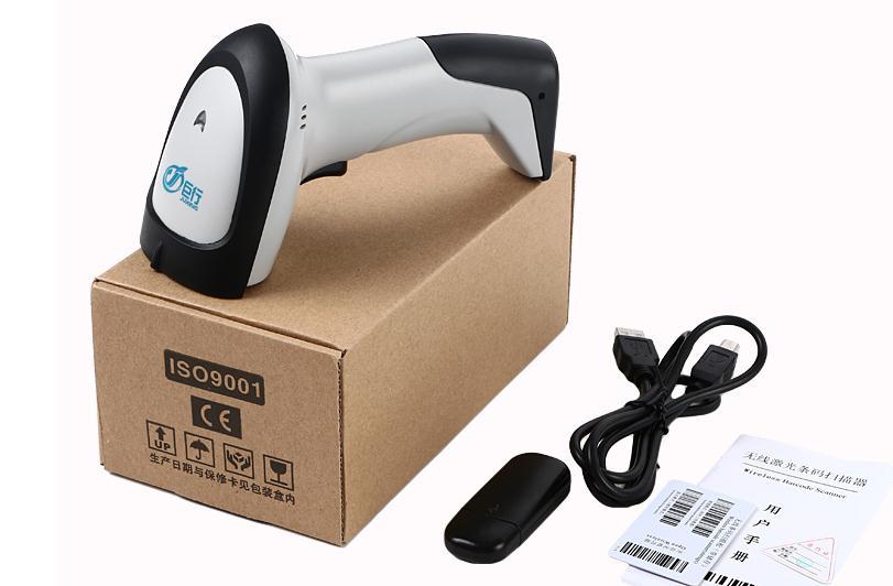 Wireless barcode scanner gun express single dedicated supermarket Retail Stores bar code reader with function of storage