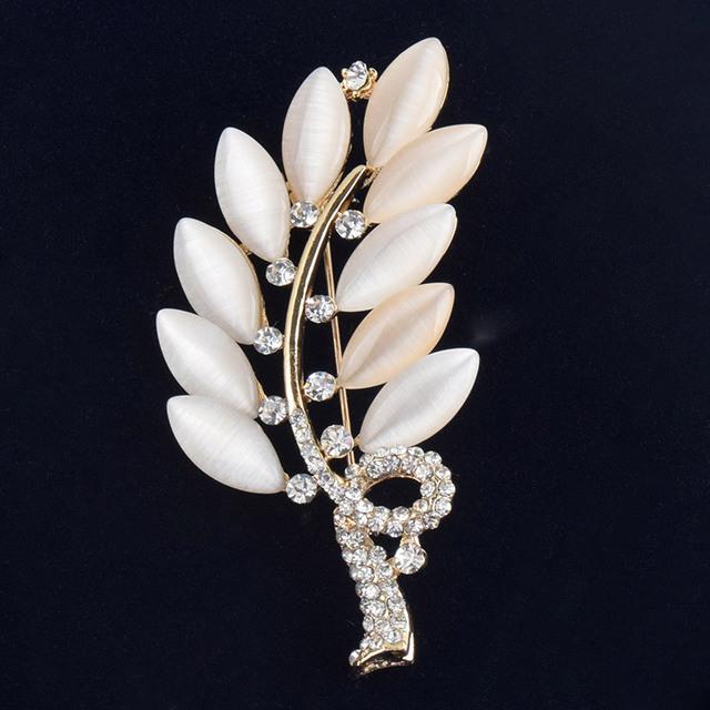 Created opal stone Leaf brooches