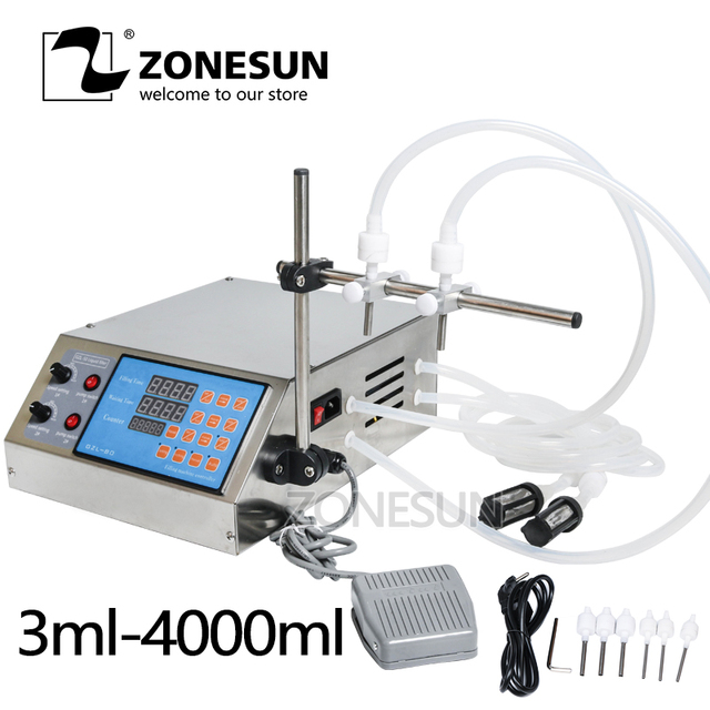 ZONESUN Electric Digital Control Pump bottle Liquid Filling Machine Small  0.5-4000ml for Perfume Water Juice Oil With 2 head
