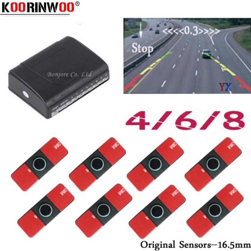 Koorinwoo Original 16.5mm Electromagnetic Parktronic Car Parking Sensors 8/6/4 Radars Alarm Buzzer Car Detector Video System