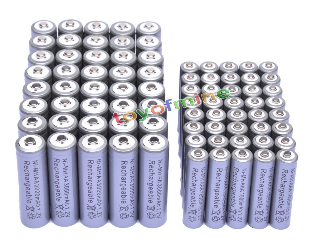 40x AA + 40x AAA 1.2 V 1800 mAh 3000 mAh NiMH gris batterie Rechargeable