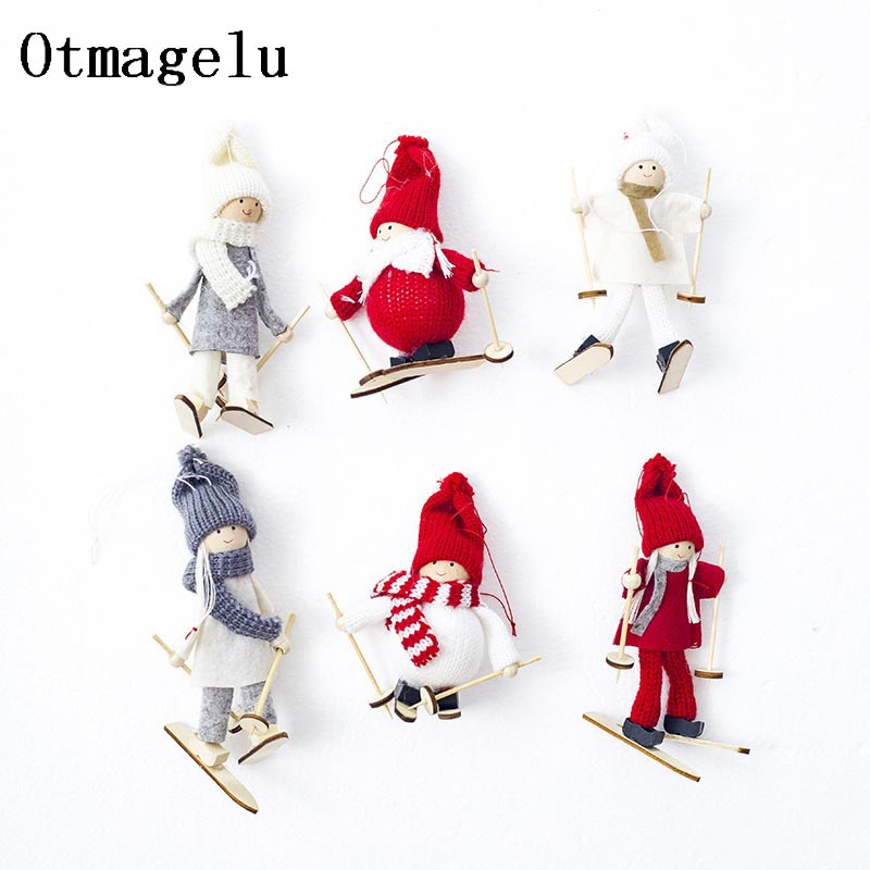 Cute Christmas Tree Decoration Kawaii Christmas Angel Girl Ski Pendant For Home Xmas Cloth Doll Party Hanging Decor Kids Gifts4