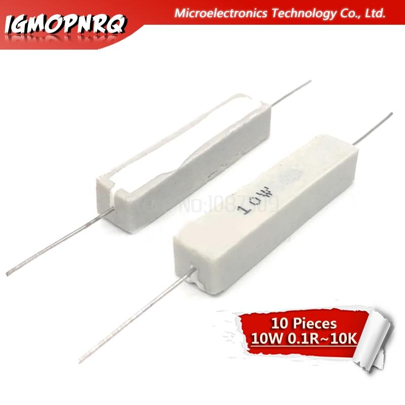 10pcs 10W Cement Resistance Resistor 1 2 5 8 10 15 20 25 100 Ohm 1R 2R 5R 8R 10R 15R 20R 25R 100R Bedroom Resistance