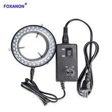 Foxanon Lámpara Anillo de luz LED para microscopio, iluminación estéreo ajustable, 110 W, 60 LED, sin parpadeo, CA, 220V, 4,5 V