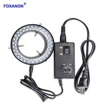 Foxanon LED anneau lumière illuminateur lampe AC 110V 220V réglable stéréo Microscope lumière 4.5W 60 LED s pas de scintillement lumière de cercle