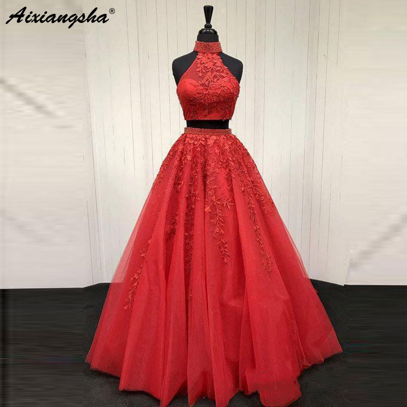 100% Real Photo Lace Appliqued Two Piece Prom Dresses Long Cheap Halter Ball Gowns Formal Party Dress vestido largo fiesta