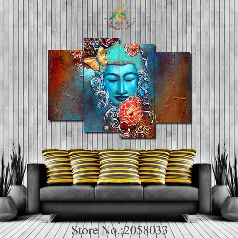 3 or 4 Pieces Abstract Flowers Buddha Pictures Painting Modern Home Decor Canvas Poster Living Room Modular Wall Art