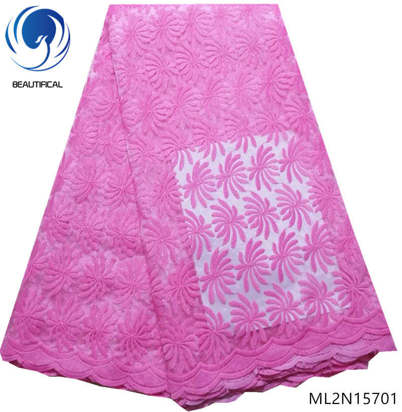 BEAUTIFICAL high quality lace fabric pink african lace fabric nigerian lace fabrics with free shipping cheap online ML2N157