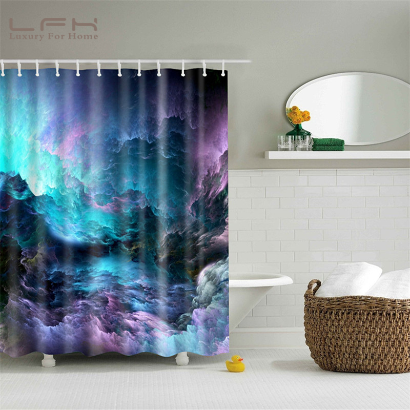 LFH Shower Curtain 180X180CM Shining Stars Space Cool Universe Customize Design Waterproof Bath Antimicrobial Bathroom Curtains In From Home