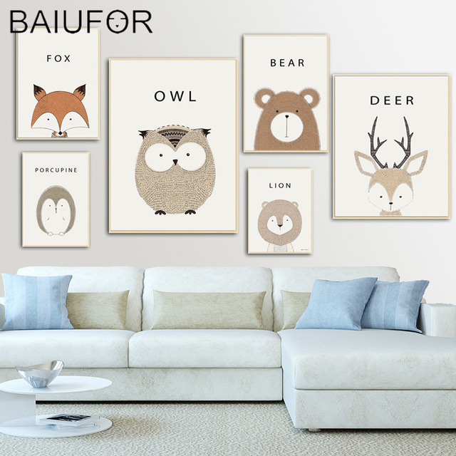 Baiufor Cartoon Animals Bear Fox Wall Art Canvas Nordic Poster Nursery Prints Painting Picture Baby Bedroom