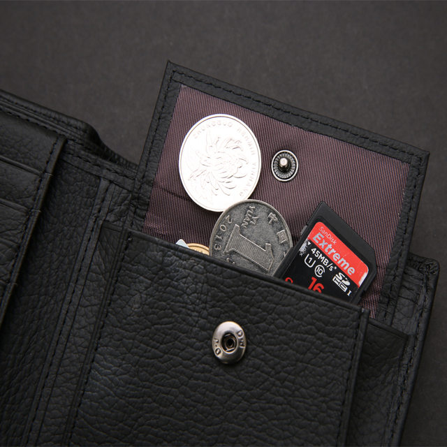 Luxury 100% Genuine Leather Bifold Wallet with coin pouch