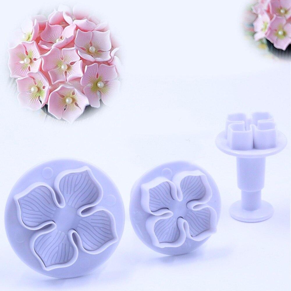 3 unids flower forma molde para hornear de plástico, cocina galleta de la gallet