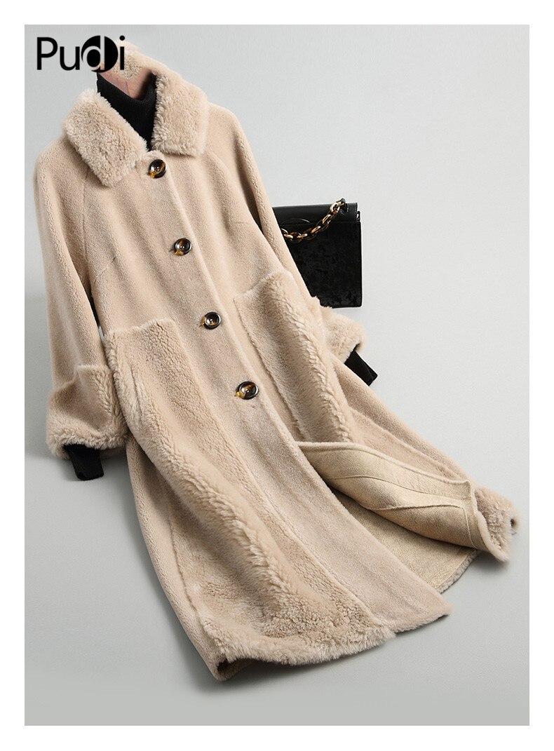 PUDI A18212 women winter real wool shearing lapel overcoat warm jacket girl coat lady Long jacket