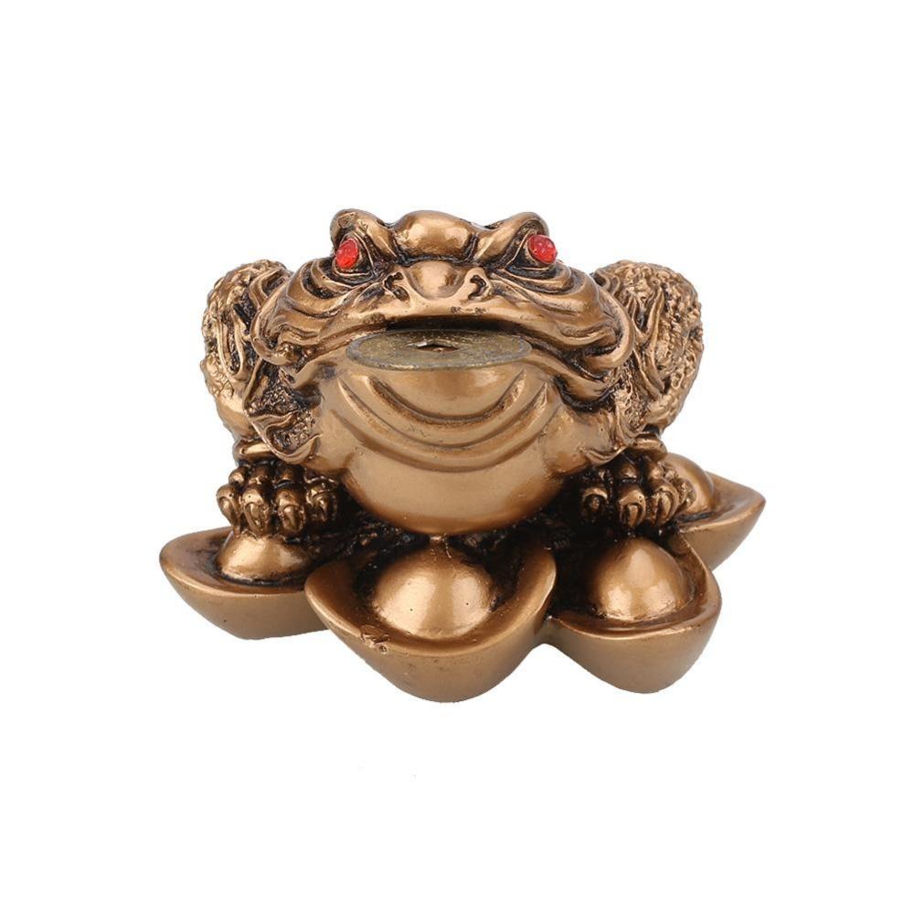 Feng Shui Geld Glck Reichtum Handwerk Chinesische Frosch Krte Mnzen Gold Mahagoni Home Office Dekoration