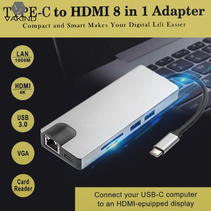 8 in 1 Aluminum Alloy Type-C Hub Splitter USB-C to RJ45 Lan HDMI VGA Adapter USB 3.0 HUB SD Card Reader Converter 8 in1 type c to type c hdmi vga rj45 usb 3 0 micro tf sd card reader thunderbolt hi speed 8 port usb hub splitter hub adapter