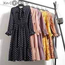 Beautiful !!!! 2018 Fashion Spring Summer New Women Long Sleeved Dress Retro Collar Casual Slim Dresses Floral Printing Chiffon