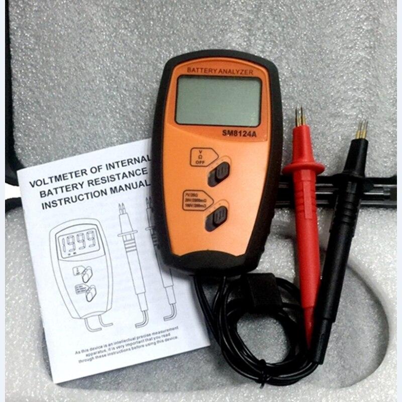Voltmètre portatif interne de résistance de batterie de mètre d'impédance de batterie voltmètre 200 V testeur de batterie invite de basse tension SM8124A