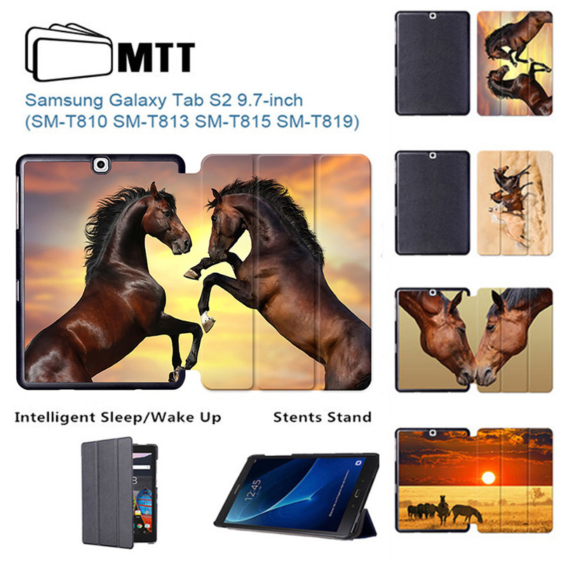 MTT Akhal-teke Horse Tablet Case for Samsung Galaxy Tab S2 9.7 inch SM-T810 T815 T813 T815C Stand PU Leather Protective Cover big ben pattern protective pu leather plastic case w stand for samsung galaxy s5 red brwon page 3
