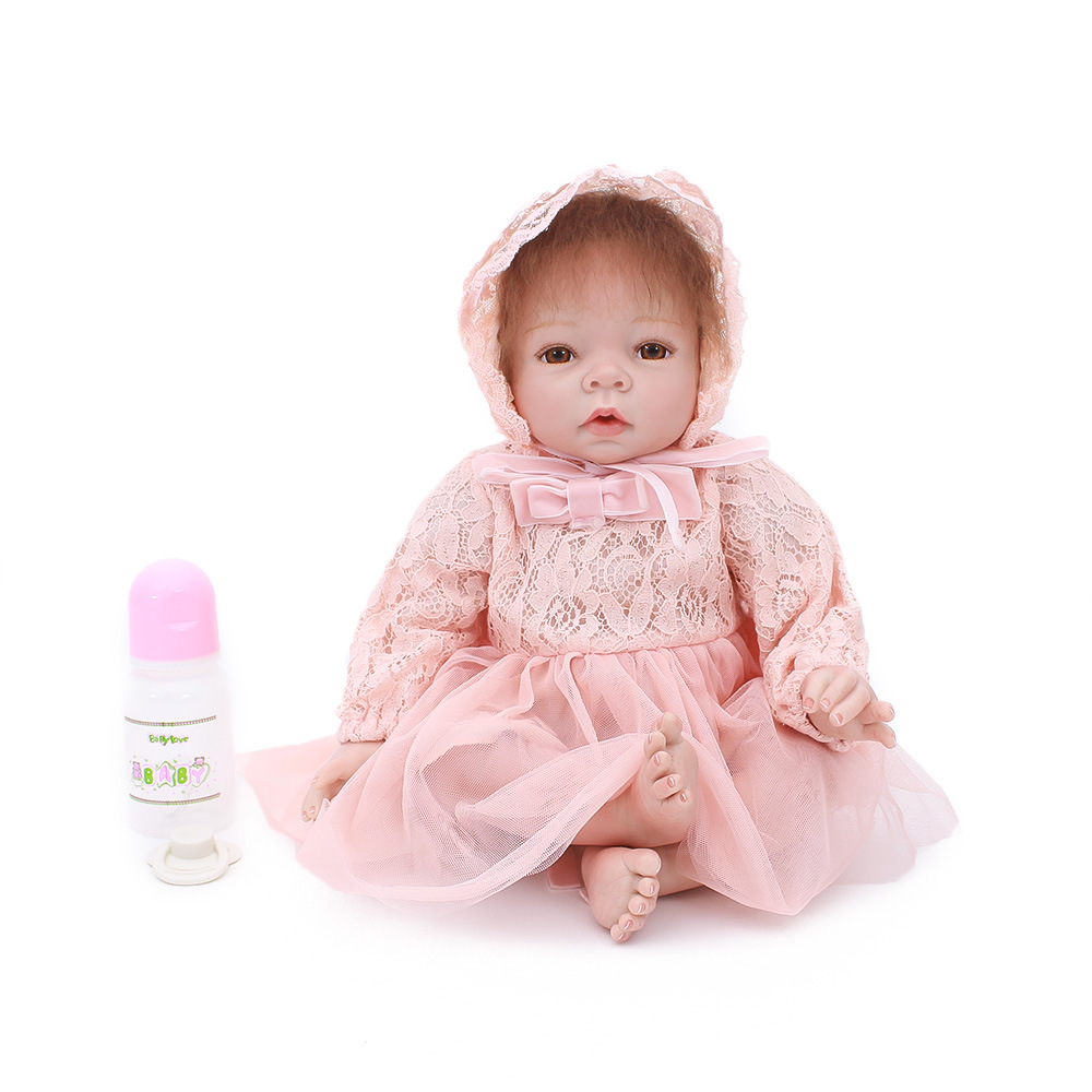 "55cm/22"" Handmade Silicone toddler Vinyl Realistic Reborn Baby Girl Dolls Newborn Lifelike infant Mini Baby Kids Gifts clothes"