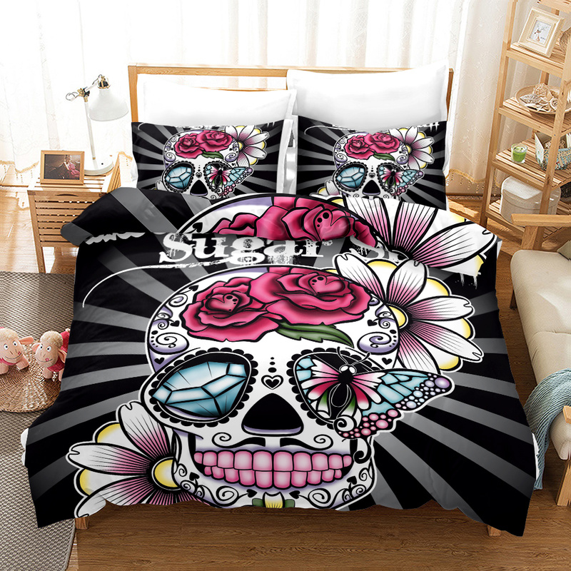 FANAIJIA 3d Sugar Skull Duvet Cover with Pillowcases Flower Skull Bedding Sets Queen Size Bed SetsFANAIJIA 3d Sugar Skull Duvet Cover with Pillowcases Flower Skull Bedding Sets Queen Size Bed Sets
